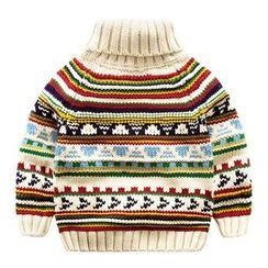 DEARIE - Kids Patterned Turtleneck Sweater