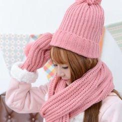 Hunter Jones - 套裝: 毛毛球針織圍巾 + 無邊帽 + 手套