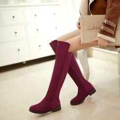 Pastel Pairs - Low Block Heel Over-the-Knee Boots