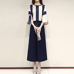 Lavogo - Set: Stripe 3/4-Sleeve Top + Cropped Wide Leg Pants