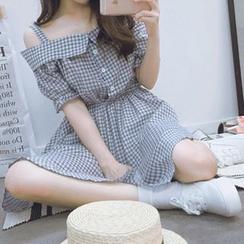 FancyMe - 格子露肩A字連衣裙