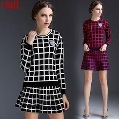 Kotiro - Set: Plaid Knit Pullover + Plaid Skirt