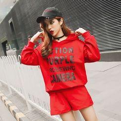 Trinie - 套裝: 字母連帽衫 + 短褲