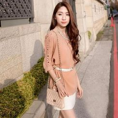 Tokyo Fashion - 3/4-Sleeve Crochet-Shoulder Top