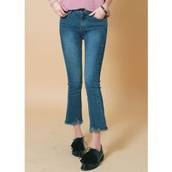 J-ANN - Brushed-Fleece Boot-Cut Jeans