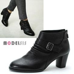 MODELSIS - Genuine-Leather Buckled Ankle Boots