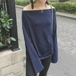 Dasim - Long-Sleeve Off Shoulder T-Shirt