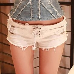 MATITA - Lace-Up Distressed Denim Hot Pants