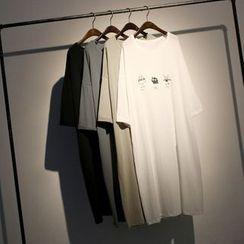 somniaa - Print Elbow-Sleeve T-shirt Dress