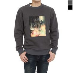 Seoul Homme - Brushed-Fleece Lined Printing T-Shirt