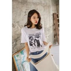 PPGIRL - Round-Neck Printed T-Shirt