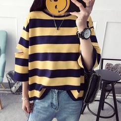 Qimi - Cut Out Detailed 3/4 Sleeve Striped T-Shirt