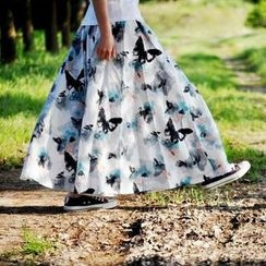 Floral Elegance - Print Maxi Skirt