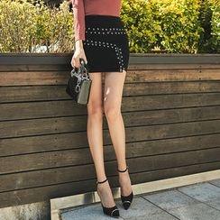 UUZONE - Eyelet Lace-Trim Mini Skirt