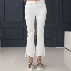 DANI LOVE - Cutout-Hem Boot-Cut Pants