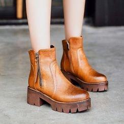 Pastel Pairs - Side Zip Platform Short Boots