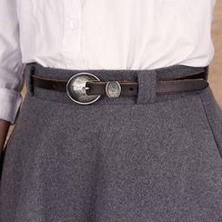 BAIEKU - 百衣酷贝型复古雕花女士毛衣细皮带大衣皮带文艺牛仔裤带头层皮带