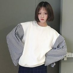 RASA - Striped Sleeve Oversized Pullover