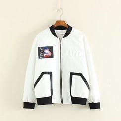 Mushi - Cartoon Applique Contrast Trim Zip Jacket