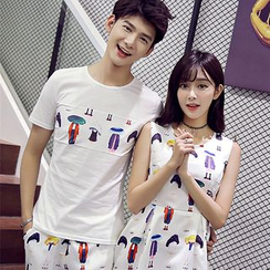 TOOI - Couple Matching Printed Set: Short Sleeve T-Shirt + Shorts / Sleeveless Dress
