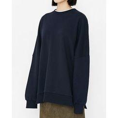 Someday, if - Layered-Neckline Slit-Side Oversized Sweatshirt
