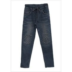 GOROKE - Drawstring-Waist Knee-Patch Tapered Jeans