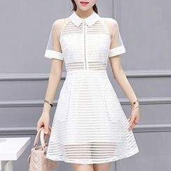 Only Eve - Mesh Panel Short-Sleeve Lace Dress