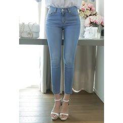 MyFiona - Slit-Hem Washed Skinny Jeans