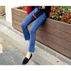 HOTPING - Washed Boot-Cut Jeans