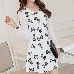 Q.C.T - Bow Printed Long-Sleeve Panel Dress