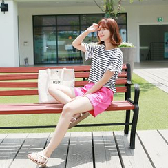CLICK - Frilled-Trim Striped T-Shirt