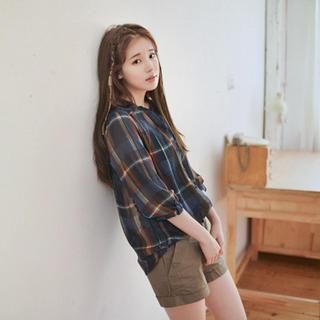 GOROKE - Chiffon Plaid Blouse