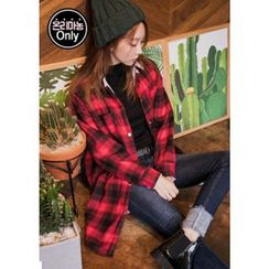 Chlo.D.Manon - Snap-Button Plaid Fleece-Lined Long Shirt