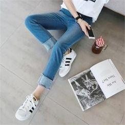 PIPPIN - Band-Waist Cuff-Hem Straight-Cut Jeans
