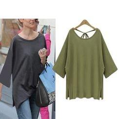 YILIA - Long-Sleeve Tie-Back T-Shirt
