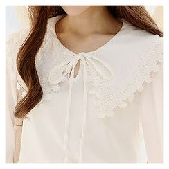 Sechuna - Long-Sleeve Tie-Front Blouse