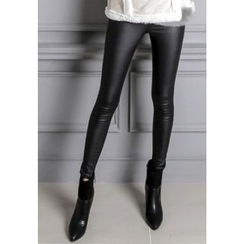 REDOPIN - Fleece-Lined Faux-Leather Pants