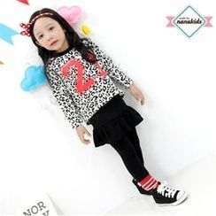 nanakids - Girls Set: Leopard T-Shirt + Inset Skirt Leggings
