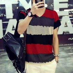 SICRIT - V-neck Colour Block Short-Sleeve T-shirt
