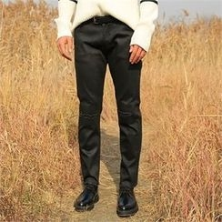 BYMONO - Coated Brushed-Fleece Lined Straight-Cut Pants