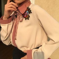 Octavia - Floral Embroidered Color Block Blouse