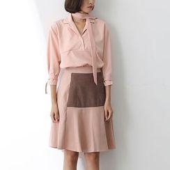 Sens Collection - Set: Notch Lapel Blouse + Color Block A-Line Skirt