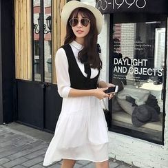 Rosesong - Set: 3/4-Sleeve Shirtdress + Vest