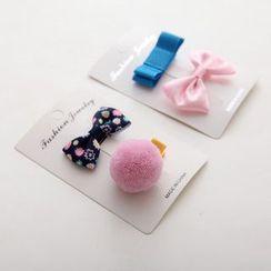 Chapa - Bow / Pompon Hair Clip Set