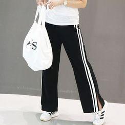 NANING9 - Striped-Side Slit-Hem Pants