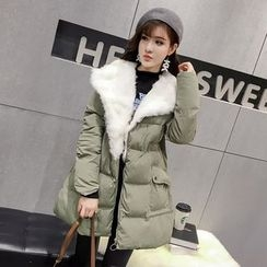 Honeydew - Furry Trim Long Padded Coat