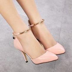 Anran - Ankle Strap Pointy Pumps