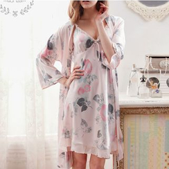 Mydream - Pajama Set: Printed Nightdress + Robe