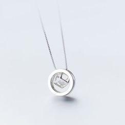 A'ROCH - 925 Sterling SilverRhinestone Geometric Pendant Necklace