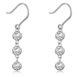 MaBelle - 14K Italian White Gold Triple Diamond Cut Beads Ball Dangle Drop Hook Earrings, Women Girl Jewelry in Gift Box